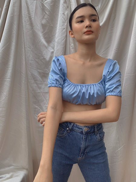 Renee silk top (POWDER BLUE)