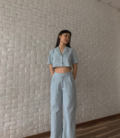 Amelia linen pants (POWDER BLUE)
