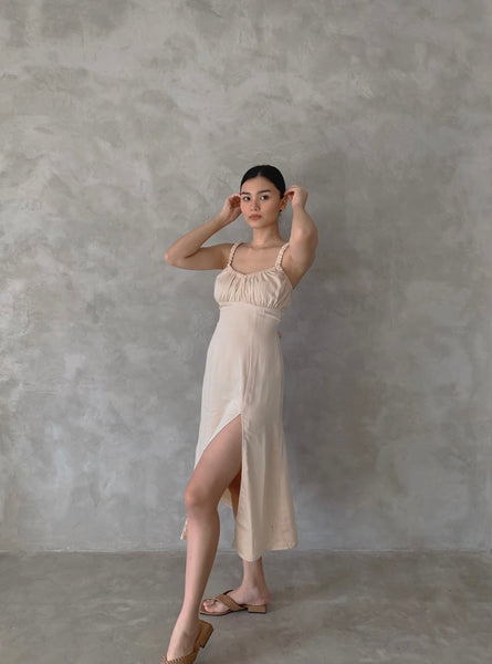 Bernadette Silk dress (CHAMPAGNE)