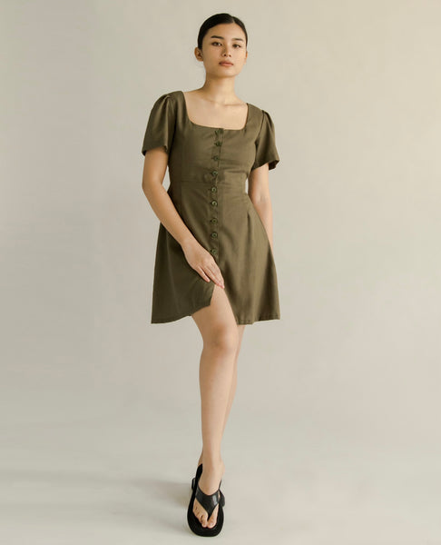 Eunice linen dress (MOSS GREEN)