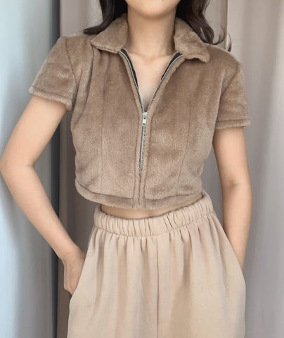 Kimmy Track Top (FAUX FUR BROWN)