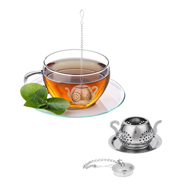 Tea Infuser Teapot Shape Tea Leaf Infuser with Tray