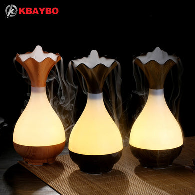 USB Ultrasonic Aromatherapy Essential Oil diffuser Aroma LED Night Light Atomization Purifier Wood Vase