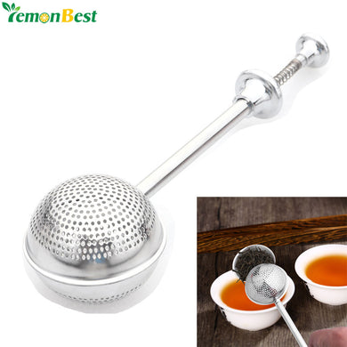 Ball Shaped Stainless Steel Silver Push Style Tea Infuser