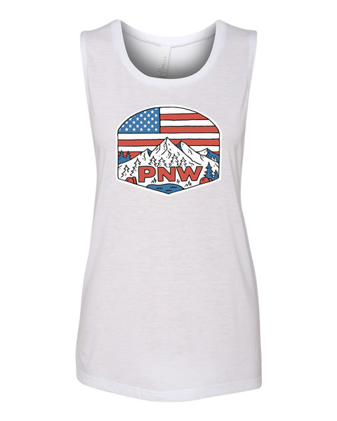 "Womens ""Patriotic PNW"" Muscle Tank"