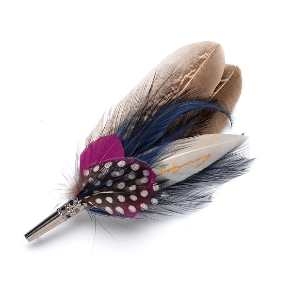 Feather Pin Navy & Pink