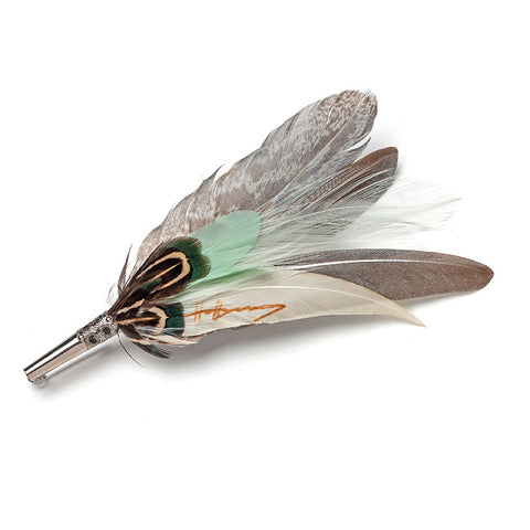 Feather Pin Mint & Silver