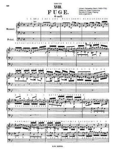 J.S. Bach's Fugue in G Minor, BWV 578