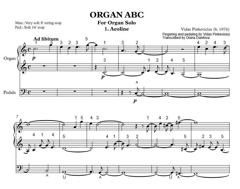 """Aeoline"" from ""Organ ABC"" with Fingering and Pedaling by Vidas Pinkevicius"