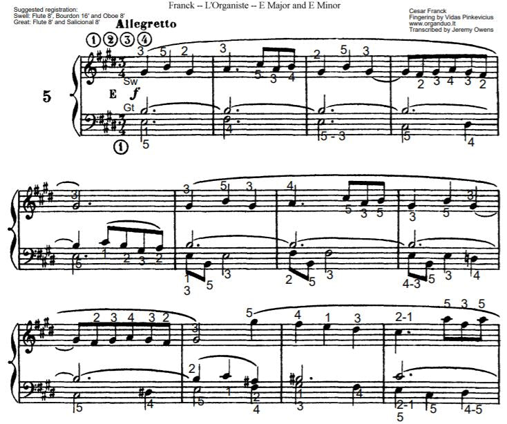 Allegretto in E Major from L'Organiste by Cesar Franck with Fingering
