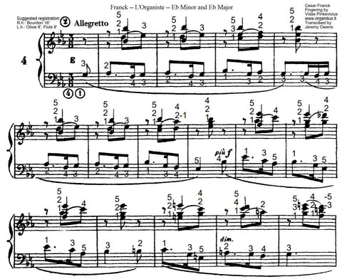 Allegretto in Eb Major from L'Organiste by Cesar Franck with Fingering
