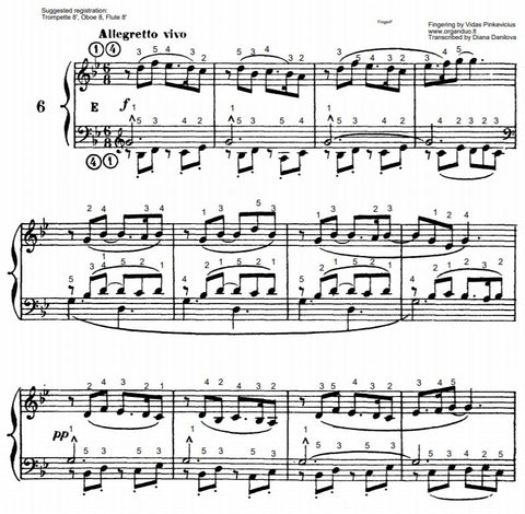 Allegretto vivo in G Minor from L'Organiste by Cesar Franck with Fingering