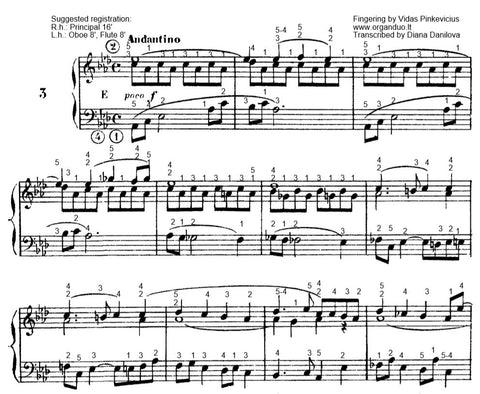 Andantino in Ab Major from L'Organiste by Cesar Franck with Fingering