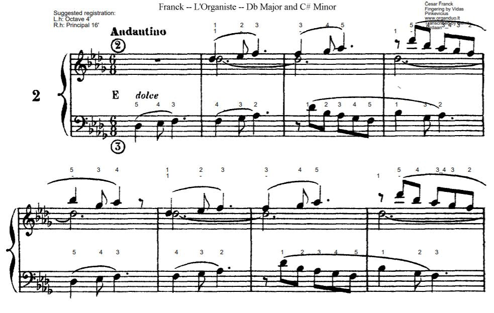 Andantino in Db Major from L'Organiste by Cesar Franck with Fingering