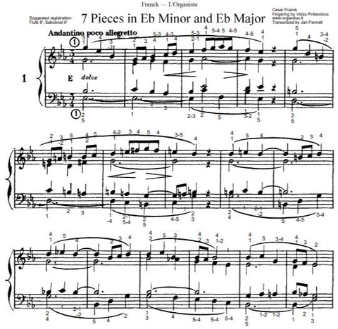 Andantino poco allegretto in Eb Major from L'Organiste by Cesar Franck with Fingering