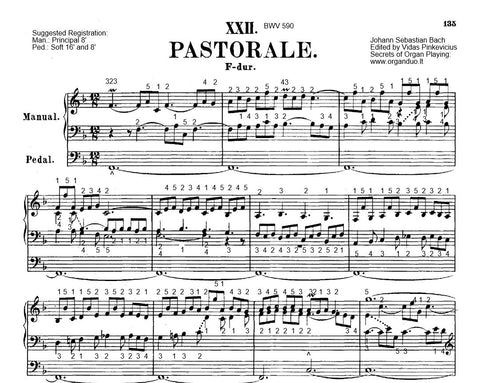 Bach Pastorella with Fingering and Registration