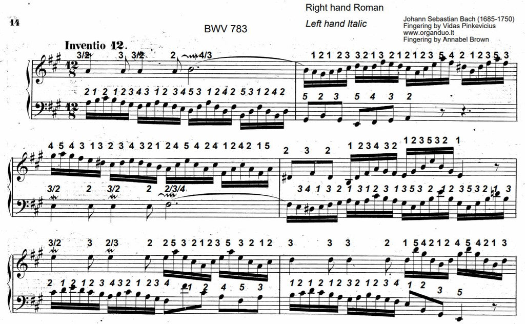 Two Part Invention No. 12 in A Major, BWV 783 by J.S. Bach