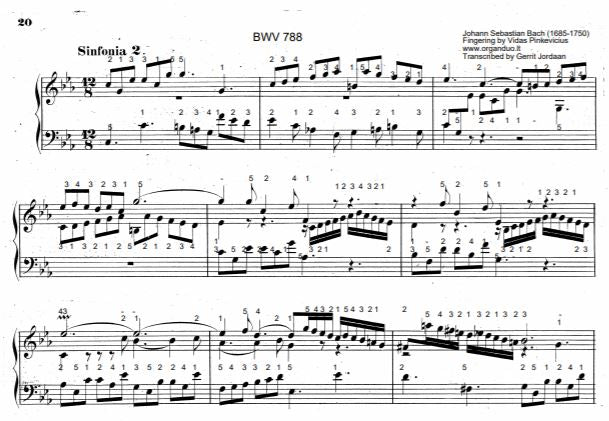Three Part Sinfonia No. 2 in C Minor, BWV 788 by J.S. Bach with complete fingering