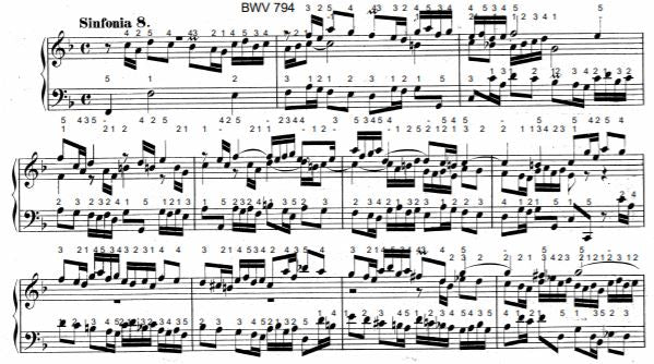 Three Part Sinfonia No. 8 in F Major, BWV 794 by J.S. Bach with complete fingering