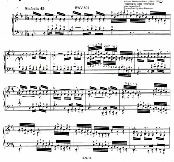 Three Part Sinfonia No. 15 in B Minor, BWV 801 by J.S. Bach with complete fingering