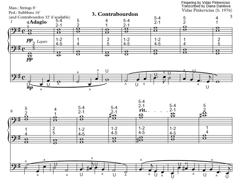 """Contrabourdon"" from ""Organ ABC"" with Fingering and Pedaling by Vidas Pinkevicius"