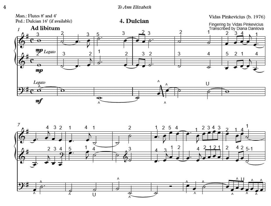 """Dulcian"" from ""Organ ABC"" with Fingering and Pedaling by Vidas Pinkevicius"