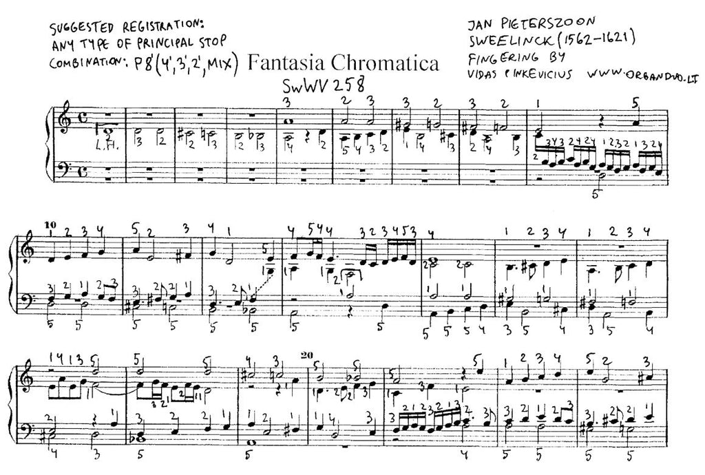 Fantasia Chromatica by Sweelinck with fingering