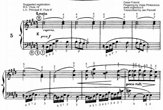 Lento in C# Minor from L'Organiste by Cesar Franck with Fingering