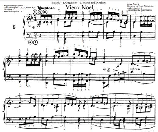 Vieux Noel (Maestoso in D Minor) from L'Organiste by Cesar Franck with Fingering