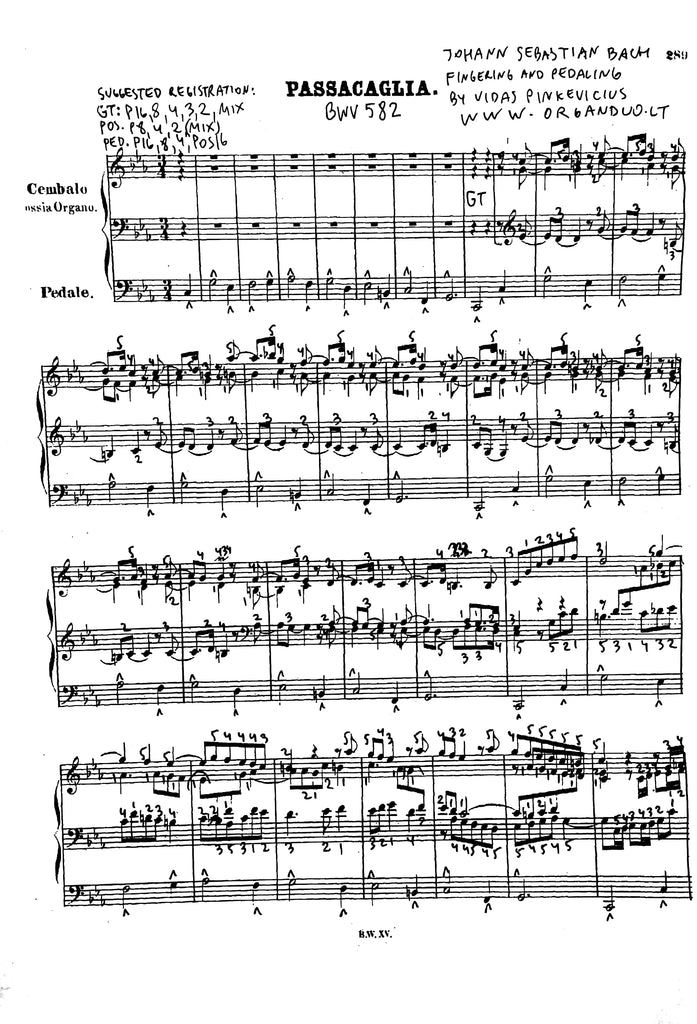 Bach Passacaglia with Fingering and Pedaling