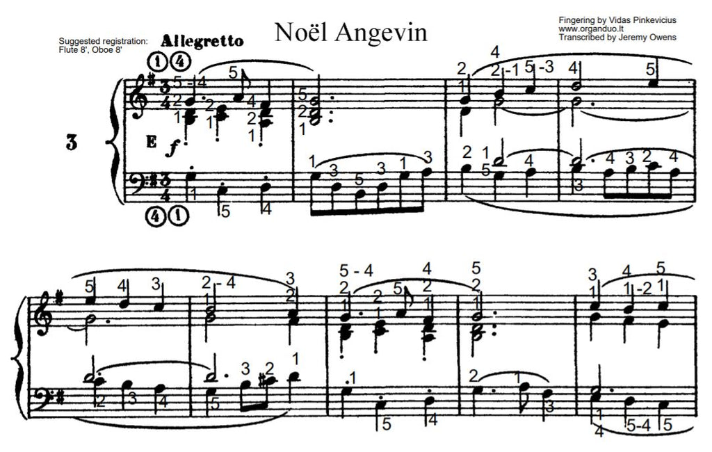 Noel Angevin in G Major from L'Organiste by Cesar Franck with Fingering