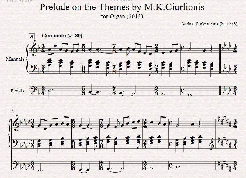 Op. 10: Prelude on the Themes by M.K. Ciurlionis (2013)