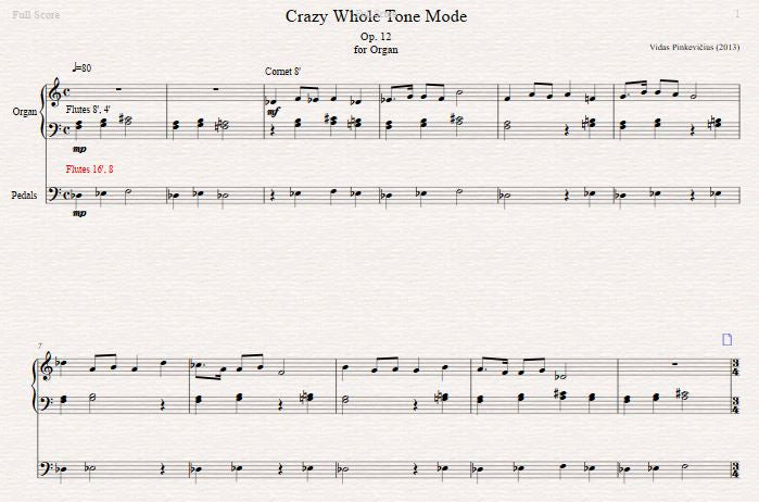 Op. 12: Crazy Whole Tone Mode (2013)