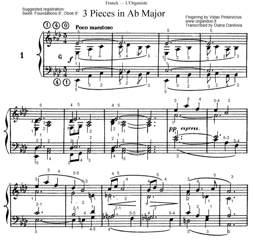 Poco Maestoso in Ab Major from L'Organiste by Cesar Franck with Fingering