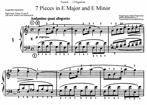 Andantino quasi allegretto in E Minor from L'Organiste by Cesar Franck with Fingering