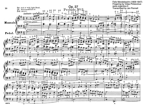 Prelude and Fugue in G Major, Op. 37 No. 2 by Felix Mendelssohn with Fingering and Pedaling
