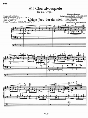 Mein Jesu, der du mich, Op. 122 No. 1 by Johannes Brahms with fingering and pedaling