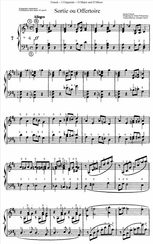 Sortie or Offertory in D Major from L'Organiste by Cesar Franck with Fingering