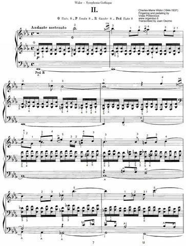 Andante Sostenuto by Ch.-M. Widor with complete fingering and pedaling