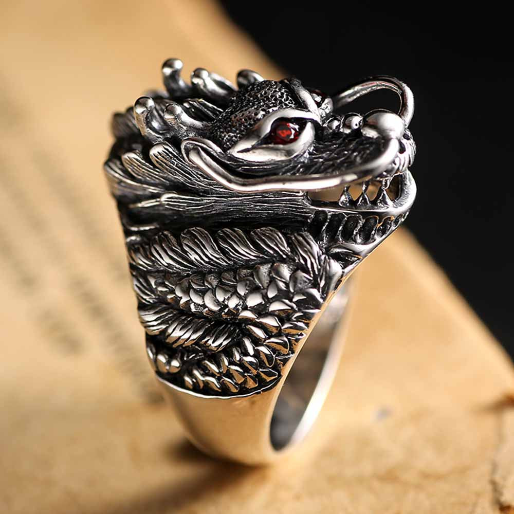 East Asian Dragon Sterling Silver Ring
