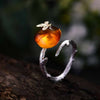 Butterfly on Amber Ring - thatringshop