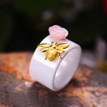 Golden Bee & Flower Ring