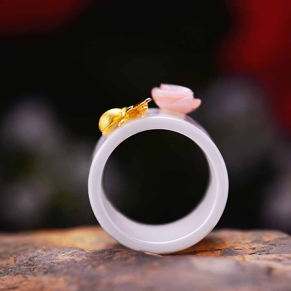 Golden Bee & Pink Flower Ring