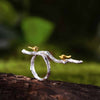 Golden Birds on a Sterling Silver Branch Ring - thatringshop