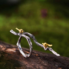 Golden Birds on a Sterling Silver Branch Ring