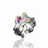 Jardin Leaf With Natural Tourmaline Sterling Silver - thatringshop
