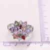 Multicolored Flower Sterling Silver Ring - thatringshop