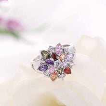 Multicolored Flower Sterling Silver Ring