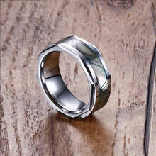 Natural Haliotis Shell Inlay Tungsten Ring