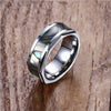 Natural Haliotis Shell Inlay Tungsten Ring - thatringshop